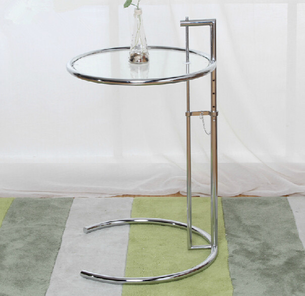 Pieceslot Glass Top Chrome Steel Frame Adjustable Eileen Gray - Eileen gray end table