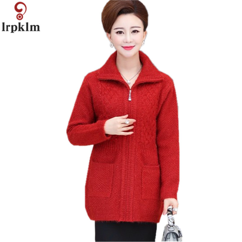 Middle aged Old Women's Thick Knitted Sweaters 2018 New Solid Mother's Long Sleeved Cardigan Long Sweater Winter Outwear CH272