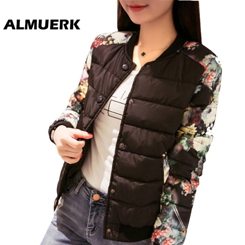 autumn winter Women short coat Ladies bomber jackets long sleeve printed cotton jacket S ...