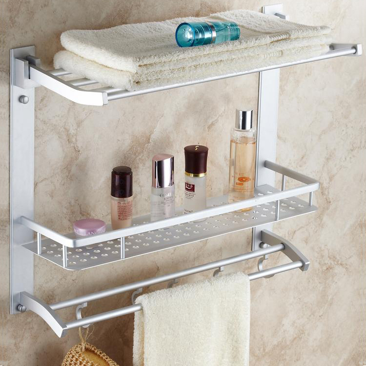 Space Aluminum Shelf Towel Rack With Hooks Multifunction Bathroom