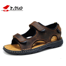 Z. Suo Marque Mode Hommes Plage Sandales Haute Qualité D'été En Cuir Hommes Sandales véritable cuir de vachette mâle plat sandales 48