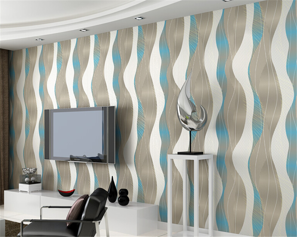 beibehang papel de parede non woven stripe wallpaper living room TV background wall paper bedroom curve warm modern simplicity beibehang mediterranean blue striped 3d wallpaper non woven bedroom pink living room background wall papel de parede wall paper