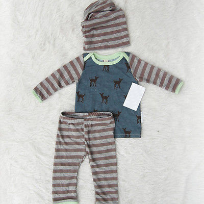 цена на Wholesale 3PCS Autumn Spring Newborn Kids Striped Deer Baby Boy Girl Long Sleeve Tops +Long Pants Hat 3PCS Outfits Set Clothes