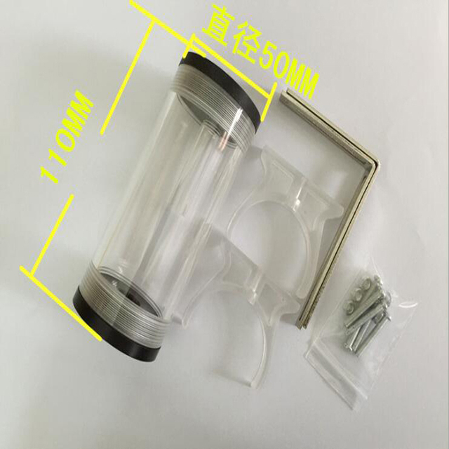 Réservoir deau cylindrique 60 210mm en acrylique, refroidisseur deau pour ordinateur, avec accessoires dinstallation, bricolage