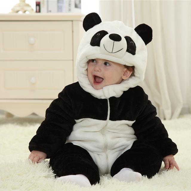 Recém-nascido bonito do inverno Romper Panda / Bee Animal do estilo trajes para o bebê macacão grosso quente
