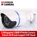 2.0 Мегапиксельная HD 1080 P IP Камера Наружного H.264 ИК 20 М 3.6 мм объектив Открытый Водонепроницаемый 2-МЕГАПИКСЕЛЬНАЯ Пуля Камеры ВИДЕОНАБЛЮДЕНИЯ Onvif P2P Облако