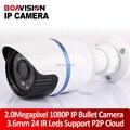 2.0 Megapixel HD 1080 P H.264 IP Cámara Al Aire Libre IR 20 M 3.6mm lente de Uso Al Aire Libre 2MP Impermeable Bala Cámara CCTV Onvif P2P Nube