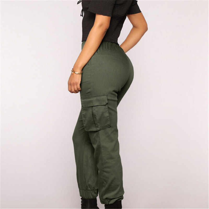 Women Skinny Streetwear Cargo Pants Solid High Waist Loose Drawstring Elastic Trousers Ladies Stretch Pockets Pants Dropshipping
