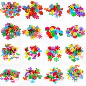 100pcs/lot Random Mixed Color multi shapes felt patch applique Felt scrapbooking sticker DIY Felt Pads(China)