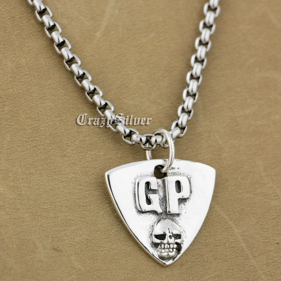 925 Sterling Silver Guitar Pick Skull Biker Pendant 9S022A 316L Stainless Steel Necklace 24 inches