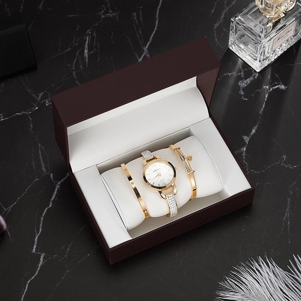 4Pcs Fashion Gift Women's Watches Stainless Steel Bracelet With Gift Box 2018 New Designer Brand Ladies Dress Quartz Watches