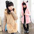 2015 Winter Girls Fashion Long Fur Coat Kid Thickening Fluffy Warm Outerwear Knitted Spliced Jacket Children's Wear Overcoat 354