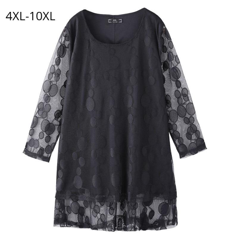 Grande taille 10XL 8XL 6XL 4XL Femmes 3/4 Manches Printemps Été décontracté hauts T Shirt Féminin Dot Lâche T-shirts