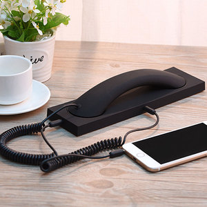 Image 3 - 2020 New 3.5mm Anti radiation Retro Telephone Handset Headphone Receiver with Mic For iPhone Samsung Handsets with Base