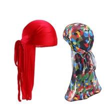 2pcs/lot Mens Silky Durags Bandanas Turban hat Wigs Doo Men Satin Durag Biker Headwear