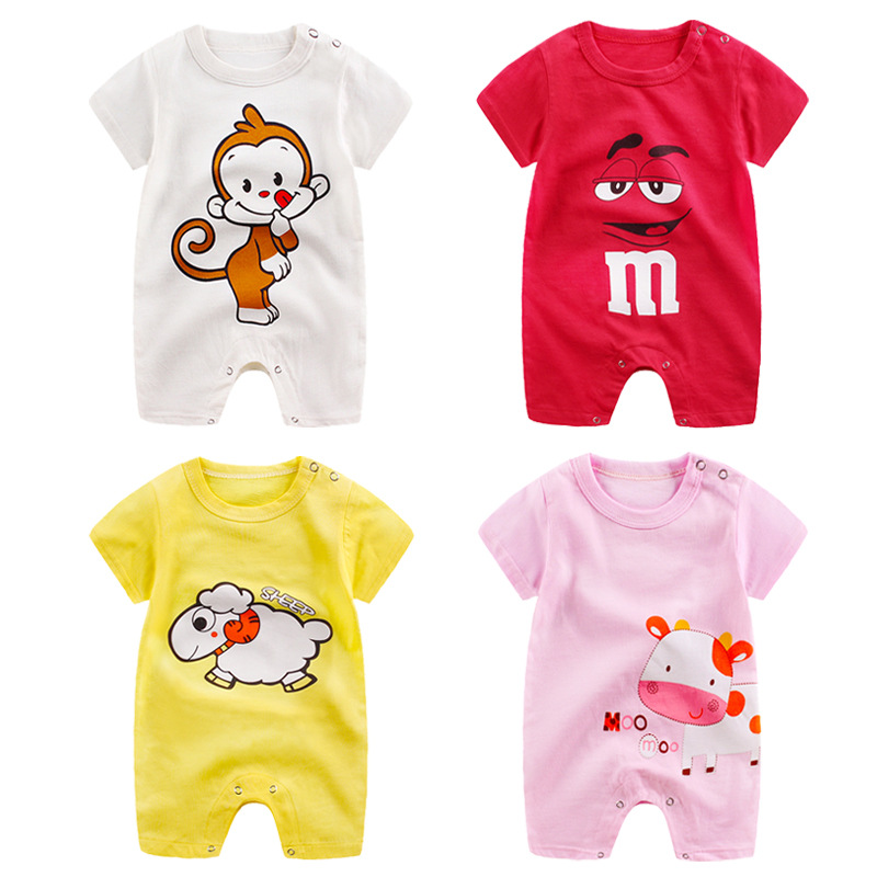 Cartoon Baby Romper Summer Boys Short Sleeve Cotton Jumpsuit fashion Baby boys Rompers Overalls Newborn Baby Boy Girl Clothes baby rompers cotton long sleeve baby clothing overalls for newborn baby clothes boy girl romper ropa bebes jumpsuit p10 m