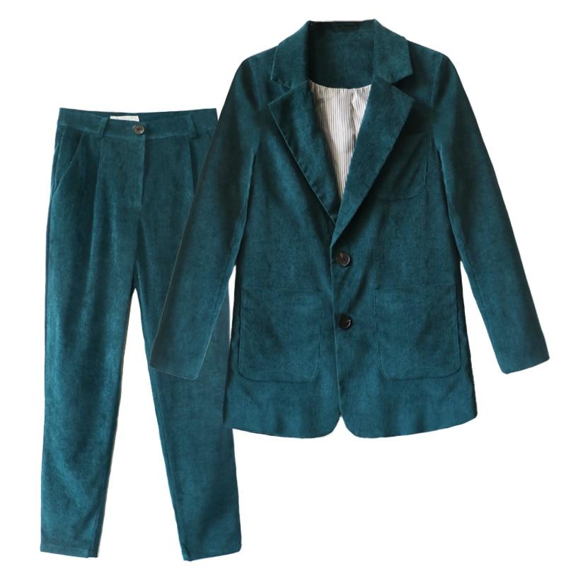 Deux Uniforme Formelle De D'affaires Femmes Ensemble Ensembles Vêtements Velours Occasionnels Travail Costumes Or Pantalon Bureau Vert Élégant Styles Pièces qw4ZxWHtFv