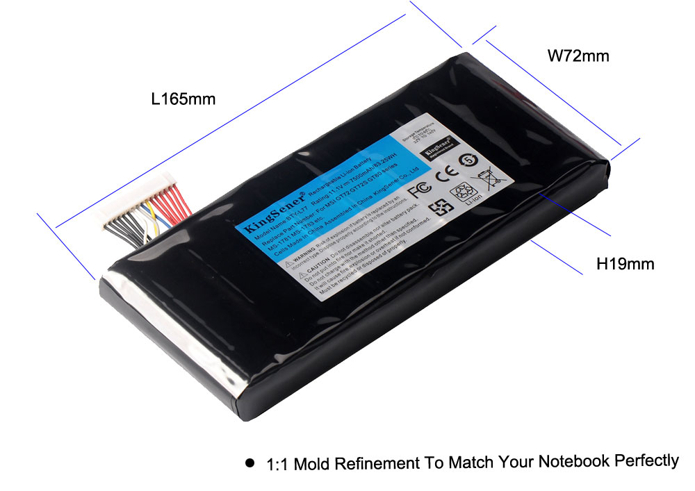 Image 4 - KingSener BTY L77 Laptop Battery For MSI GT72 2QD GT72S 6QF GT80 2QE GT80S WT72 MS 1781 MS 1783 2PE 022CN 2QD 1019XCN 2QD 292XCN-in Laptop Batteries from Computer & Office