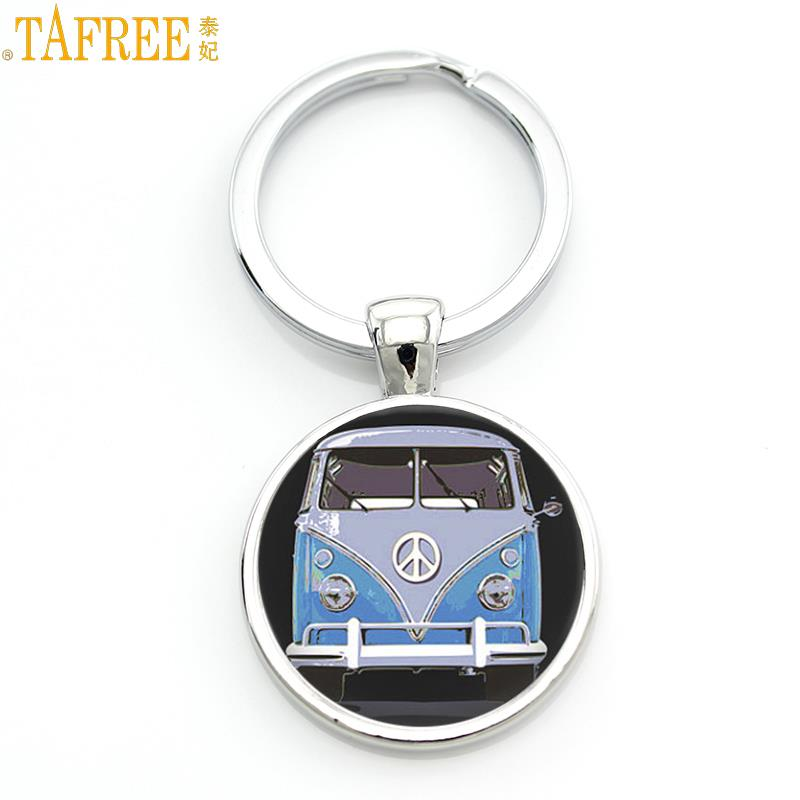 TAFREE new vintage Hippie Peace Sign Van Bus keychain fashion men women purse bag car pendant key chain ring holder jewelry CT89 47