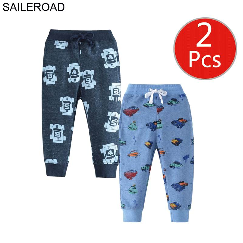 SAILEROAD 2pcs Kids Trousers Pants with Car Print 2019 Boys Sweatpants Full Length Spring Children for Clothes