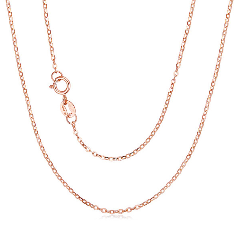 RINYIN Solid 18K Rose Gold Necklace Pure AU750 Cute Rolo Chain 1mm Width 16 - 36 Inches pure au750 rose gold love ring lucky cute letter ring 1 13 1 23g