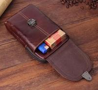Belt Clip Man Genuine Cow Leather Mobile Phone Case Pouch For Moto Z Z Play Z2