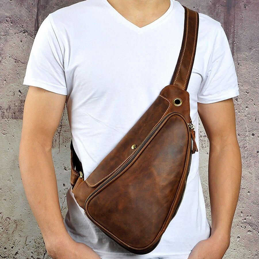 New Men Vintage Crazy Horse Genuine Leather Cowhide Handbag Messenger Shoulder Pack Travel Casual Sling Chest Back Bag casual canvas satchel men sling bag