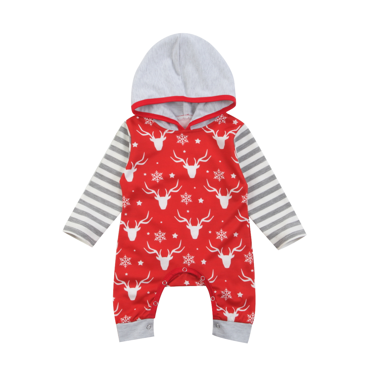 Newborn Baby Girls Boys Hooded Romper Jumpsuit Christmas Outfits 0-24M pudcoco 2018 Newborn Baby Boy Girl deer romper цена