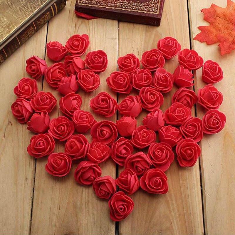 50 шт./пакет пенополиэтилен Роза ручной работы DIY свадебное украшение дома Многофункциональный искусственный цветок голову 10 Цвета оптовая продажа