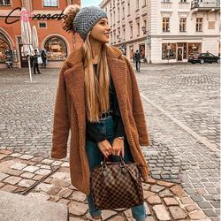 Conmoto Women Winter Suede Jacket 2019 Fashion Teddy Bear Caramel Long Coat Female Long Sleeve Faux Fur Coat Fluffy Outerwear 2