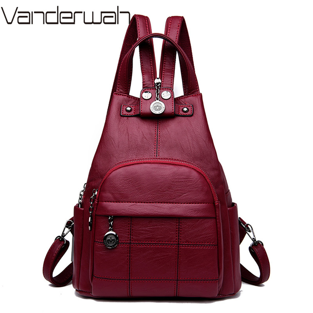 3-In-1 Vintage Mini Women Backpack Purse High Quality Leather Small Backpacks For Teenage Girls Female School College Back Pack3-In-1 Vintage Mini Women Backpack Purse High Quality Leather Small Backpacks For Teenage Girls Female School College Back Pack
