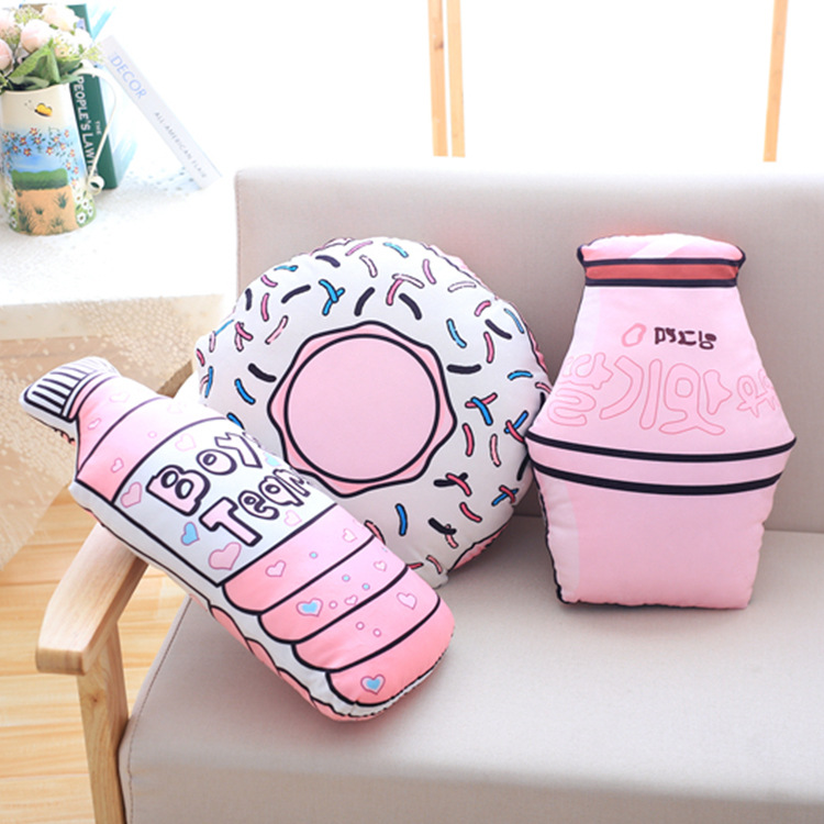Kawaii Pink Stuffed Donut Bottle Shape Plush Toys Doll Soft Down Cotton Cushion Kids Baby Appease Pillow Home Docor Good Gift ...