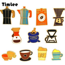 Timlee X171 Gratis verzending Nieuwe Persoonlijkheid Retro Druipend Olie Koffie Machine Cup Pot Legering Broche Pinnen Fashion Sieraden groothandel(China)