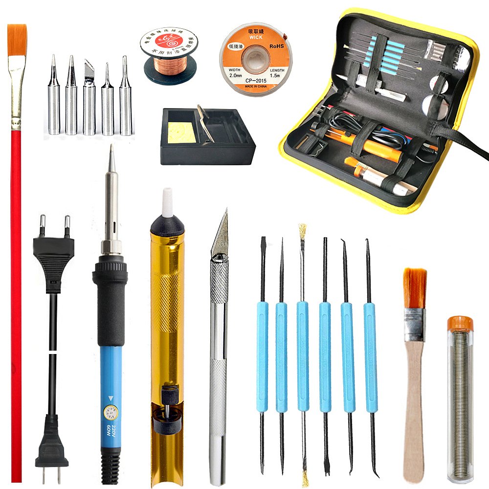 60w Electric Soldering Iron Adjustable Temperature Portable Welding Tool Soldering Iron Kit Desoldering Pump Tin Wire Solder Tip