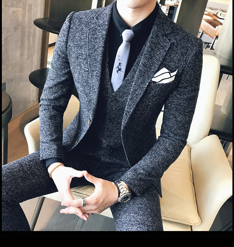 Sensfun 2019 Dark Grey Terno Man Suit Blazers Jacket And Pant Suit Silm Style Casual Business Formal Costume Homme Mariage