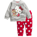 2016 Hello Kitty Girls Clothing Sets Baby Boys Sleepwear Kids Long Sleeved Blouse+Pants Kid Pajama Sets Children's Pajamas C20