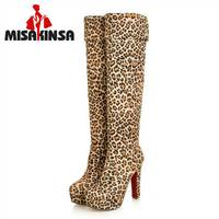 MISAKINSA Fashion Women Winter Boots Over Knee Boots Sexy Platform Boots Leopard Print Warm High Boots Female Plus Size 34 43