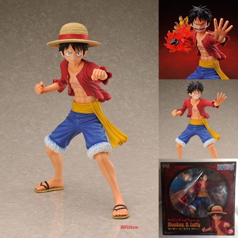 ФОТО Wholesale 6pcs/carton one piece New world Ver giant Luffy action pvc figure toys model in box via EMS.