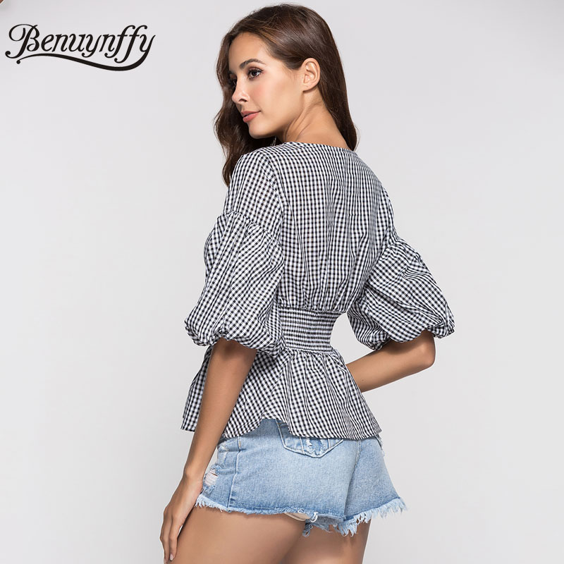 Benuynffy Summer Casual Plaid Shirt Top Women 2019 New Fashion O-Neck Drop Shoulder Lantern Half Sleeve Elegant Peplum Blouse