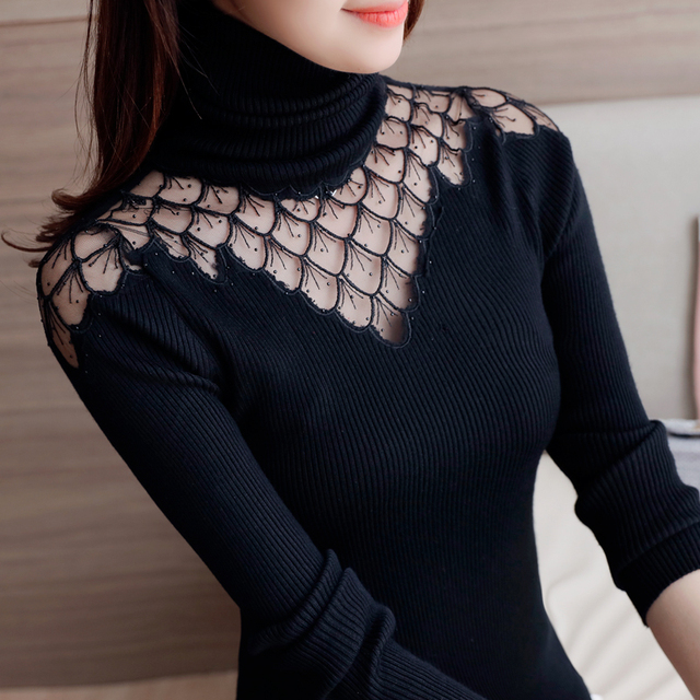 Turtleneck Sweater Women 2019 Autumn Winter New Style Pullover Lace Knitted Shirts Sexy See Through Splice Tops Sweaters Blusas