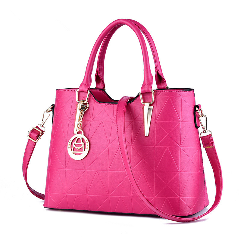 Elegant Women Handbag Casual Fuchsia PU Office Lady Shoulder Bag Tote Crossboday Messenger Zipper elegant pu office lady business handbag casual clutch fashion women shoulder bag zipper pink