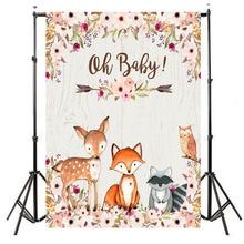 NeoBack Woodland Baby Shower Backdrop Girl Animals Flower Photography Background Vinyl Banner Decoration