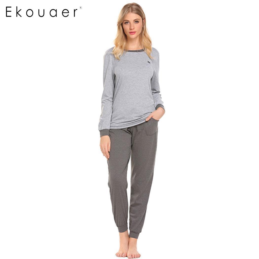 Ekouaer Women Long   Pajamas     Set   NightwearLong Sleeve T-Shirt and Long Pants Sleepwear   Pajama   Suit Female Nightwear Autumn Winter