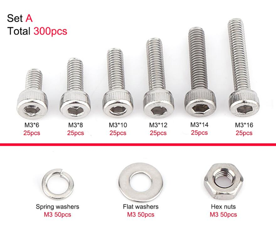 M3 Stainless Steel SS304 Hex Socket Cap Head Screws Bolts Fastener Supply 100pcs M312
