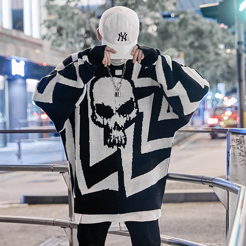 2019 New Color Patchwork Knit Street Stylish Mens Hip Hop Casual Pullover Sweaters Male Fashion Loose Full Sleeve Sweaters Red