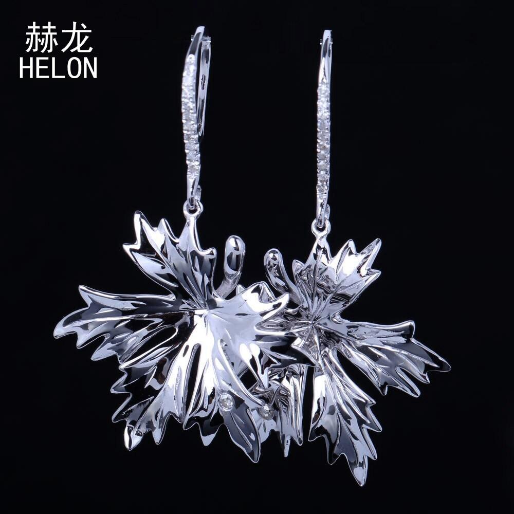 Серебро 925 натуральные бриллианты ювелирные мотаться Hook Свадебные Серьги проложить Установка кленовый лист Форма Висячие серьги Для женщи
