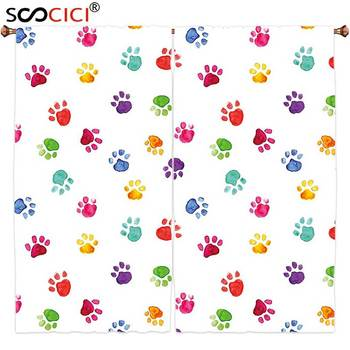 Window Curtains Treatments 2 Panels,Colorful Hand Painted Illustration of Animal Footprints Cute Vibrant Artwork in Watercolors