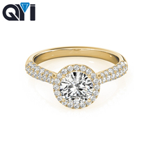 QYI 1 Carats Simulated diamond Pure 14k Yellow gold Multi Row Band Wedding Ring Classic Halo Engagement For Women