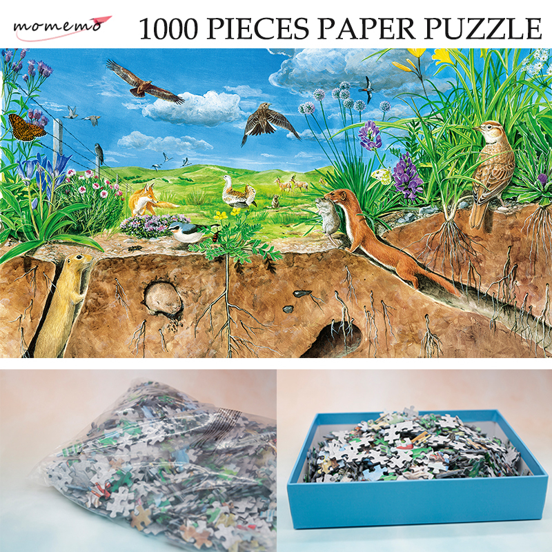MOMEMO The Temperate Steppe Adult Color Paper Puzzle 1000 Pieces Hand-painted Ecosystem Jigsaw Puzzle Natural Landscape Puzzle
