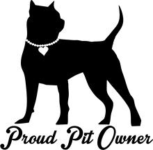 Proud PIT Owner Girl Pitbull Pearl Heart Choker - Pit bull Dog Vinyl Car Decal, Laptop Wall Sticker (6in, Black)